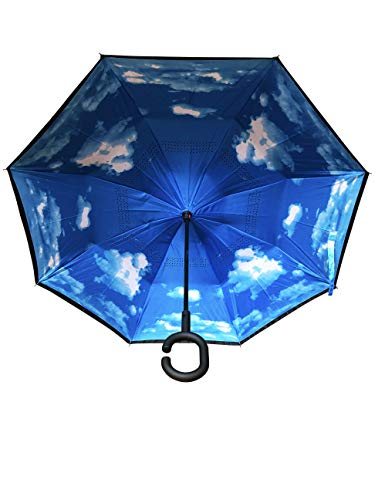 Innovativer Regenschirm, Umgekehrter Regenschirm, Reverse Umbrella, Inverted Umbrella, Geschenk (Wolken)