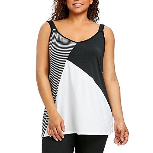 ESAILQ Mode Frauen Plus Größen Streifen Patchwork Sleeveless Trägershirt Weste O-Neck T-Shirt