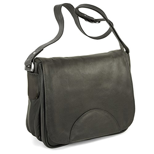 Damen Handtasche Größe M Umhängetasche im Retro-Look aus Nappa-Leder, Schwarz, Hamosons 577