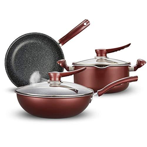 GPWDSN Ustensiles de Cuisine antiadhésifs Ensemble de 3 ustensiles de Cuisine antiadhésifs - Ensemble de casseroles et poêles en Aluminium - Comprend: Casserole, poêles à Frire