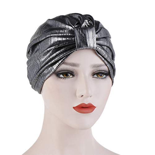 DYSCN Simple Turban Cap Bronzing Baotou Cap Multi-Function Wrap Headscarf Cap for Women Stylish Accessories, Silver Grey Color