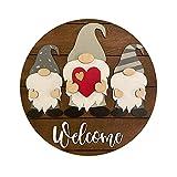 Placa Welcome Signo de bienvenida Puerta delantera Cuelga de madera Dwarf Muñeca sin rostro Bienvenido Señalización 30 cm Redondo Madera Colgante Signo Casa Reducción Decoraciones de porche Letrero Bi