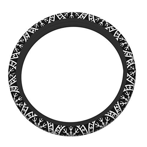 Zordalating Viking Norse Rune Protection Elastic Steering Wheel Cover, Made of Top Grade Neoprene, Durable, Anti Slip and Anti Abrasion.A Wonderful Gift