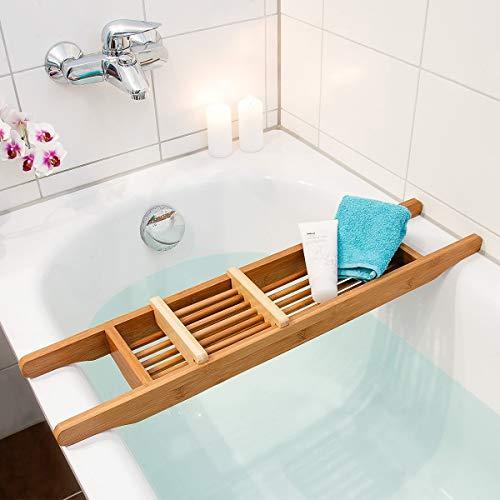 Relaxdays 10018791 Badewannenablage aus Bambus mit verstellbarer Seifenschale 69 x 14 cm
