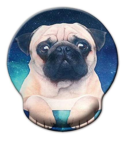 Non Slip Mouse Pad Wrist Rest for Office, Gaming,Computer, Laptop & Mac - Durable & Comfortable & Lightweight for Easy Typing & Memory Foam Pain Relief-Ergonomic Support (Cute Pug)