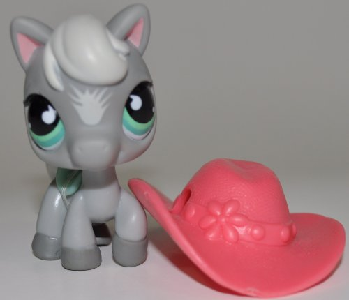 Horse #524 with Hat (No Saddle: Gray, Blue Eyes) - Littlest Pet Shop (Retired) Collector Toy - LPS Collectible Replacement Single Figure - Loose (OOP Out of Package & Print)