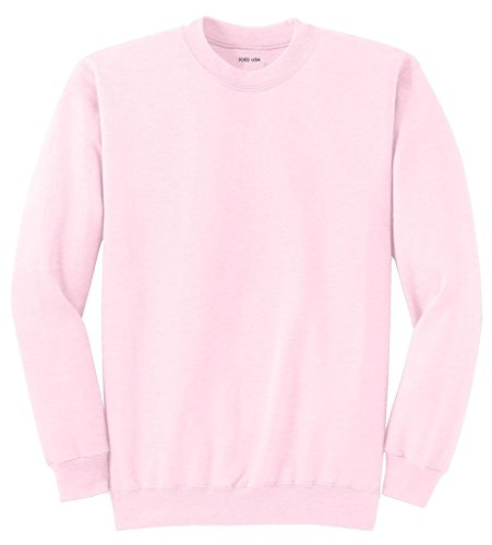 Joe's USA Adult Classic Crewneck Sweatshirt, M -Pale Pink