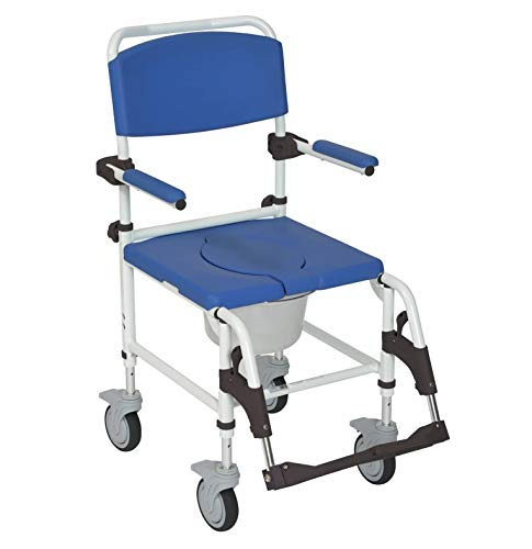 Drive Medical Aluminum Shower Commode Transport Chair, Model - NRS185007