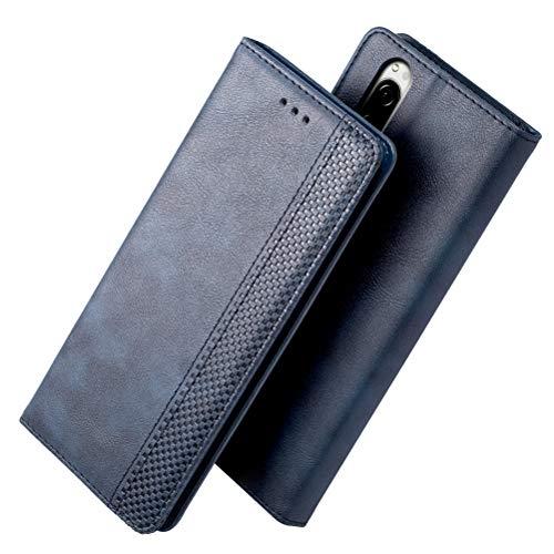 Xperia 5 SOV41ケースiHOY Sony Xperia 5ケース 手帳型 おしゃれ 革 カード入れ スタンド機能 柔軟 Sony Xperia 5ケース レザー 衝撃吸収 薄型 新型(ネイビー)