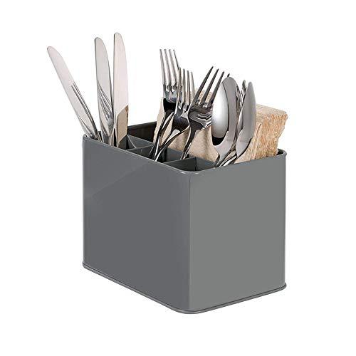 Organizador de Cubiertos, Metal Escurridor de Cubiertos con 4 Compartimentos, Soporte Porta de Cubiertos para Mesada de la Cocina, Cucharas,Tenedores, Cuchillos, Condimentos