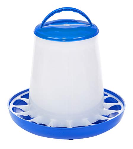 Plastic Poultry Feeder (Blue & White) - Durable Feeding Container with Carrying Handle for Chickens & Birds (5 Lb) (Item No. DT9855)