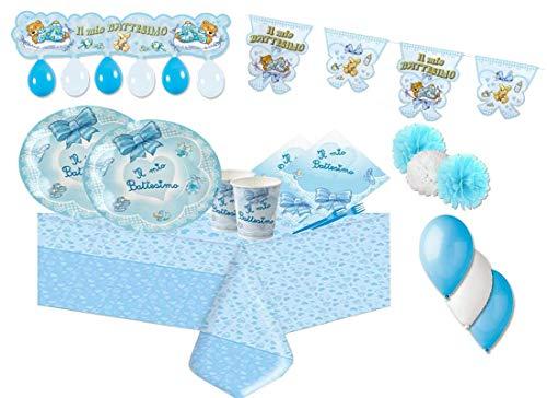 Big Party IRPot - Kit N 54 Battesimo Fiocco Celeste Coordinato ADDOBBI Festa Evento Ribbon