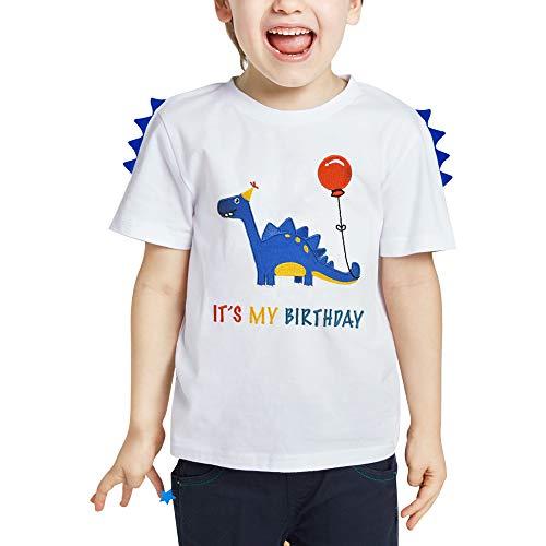 AMZTM Dinosaurio Camiseta de Cumpleaños Bebé Niño Cumpleaños Fiesta Blanco Manga Corta 100% algodón T-Rex Bordado Gráfico T Shirt Regalo (Blanco, 83-89)