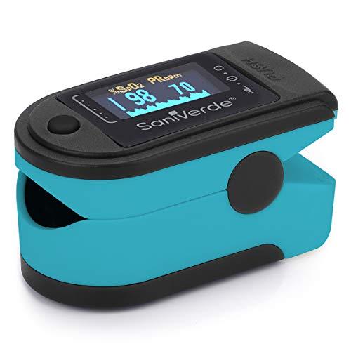 SaniVerde® PulsOximeter mit 360° LED Anzeige in 5 Farben - Finger Oximeter, Pulsoxymeter, Messgerät für Sauerstoffsättigung und Puls mi Tasche (Black-Skyblue)