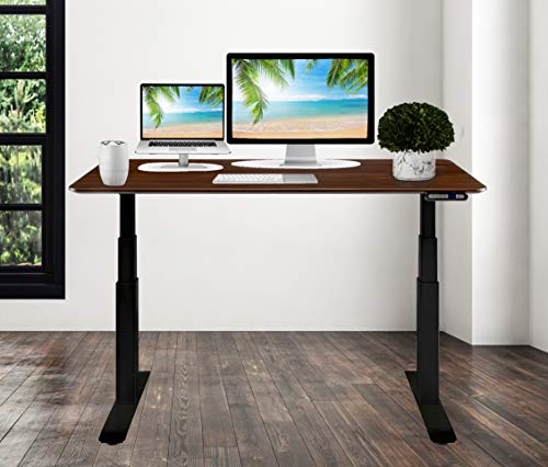 Seville Classics S2 Electric Standing Desk with 54' Top, Dual Motors, 4 Memory Buttons, LED Height Display (Max. 48.4' H) 2-Section Base, Black/Walnut