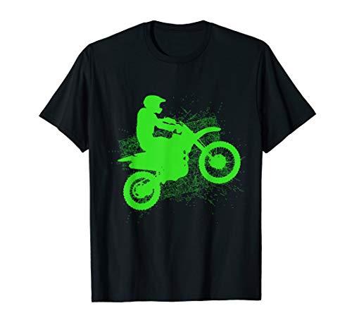 Dirt Bike Rider Tire Tracks Neon Green Youth T Shirt