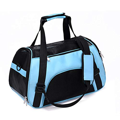 HUI JIN Puppy carrier for small dogs Cat carrier Portable Pet carriers Travel bag Foldable Transport Bag for Dogs and Cats with Locking Safety Zippers, Pale Blue 43cm x 20cm x 28cm