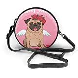 BAODANLA Bolso redondo mujer Shoulder Bags Women Round Bags I Woof You! Dogs Crossbody Leather Circle Bag