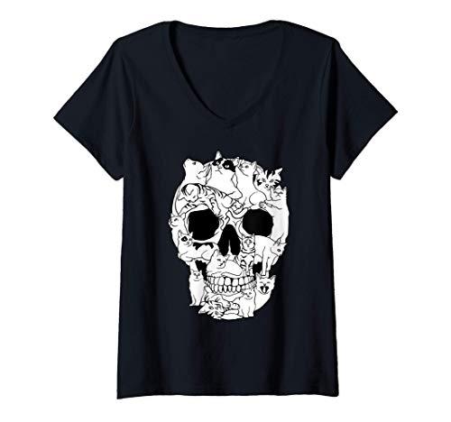 Femme Chat Crâne Kitty squelette grunge style drôle os de chat T-Shirt avec Col en V