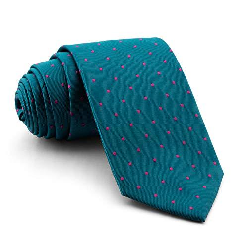 Cencibel Smart Casual Corbata Lunares o Topos (Fondo Verde Petróleo Lunares Fucsia)