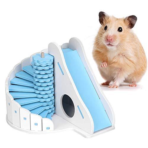 Pssopp Hamster House - Juego de hámster de madera para escondite de ratas con tobogán redondo para animales pequeños como hámster enano y ratón (azul)