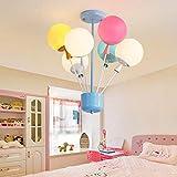 Modern Children's lamp Pendant Light, CraftThink Chandelier Colorful Balloon Glass Pendant Lamp Ceiling Light E27 110V Creative Light for Children's Room Bedroom Boys and Girls Living Room (6 Lights)