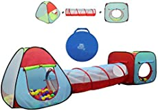 Kiddey Children's Play Tent with Tunnel (3-Piece Set) – Indoor/Outdoor Playhouse for Boys and Girls – Lightweight, Easy to Setup (Balls Not Included)