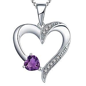 YL Kette Herz Damen Halskette Silber 925 mit Februar Geburtsstein Amethyst Anhänger für Frauen
