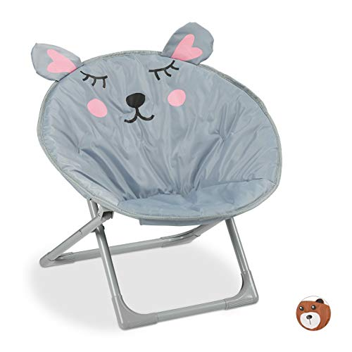 Relaxdays Moonchair kinderen, inklapbare maanstoel, voor binnen en buiten, kinderklapstoel, muis, HxBxD: 51,5 x 51 x 48 cm, grijs, 1 stuk