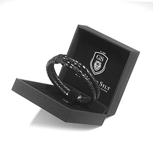 GENTLEMAN SYLT Armband Herren ROYAL, Lederarmband schwarz, Herrenarmband Echtleder, Männerarmband mit Magnetverschluss 21cm