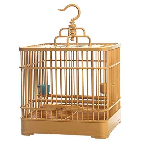 ZYLBDNB Voliera per pappagalli Gabbia per Uccelli in Acciaio di plastica Quadrata Resistente e Adatta per l'allevamento di Piccoli Uccelli (Marrone) voliera per Uccelli