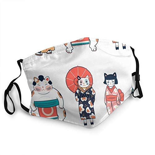 Various Cats Dressed Traditional Japanese Clothes Animals Animal Face Masks Washable Reusable Safety Masks Protection from Dust Pollen Pet Dander Other Airborne