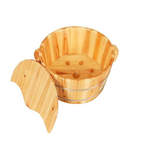 MonthYue voetenbad voor het weken van voeten, waterdichte houten emmer, met deksel voet weken emmer, voor thuis Spa behandeling, Sauna, beste cadeau voor familie