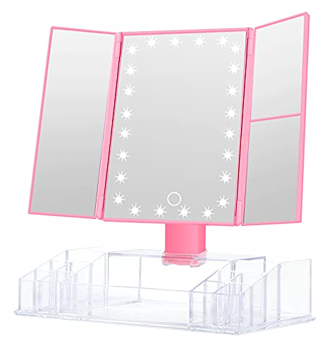 GULAURI Makeup Mirror - Lighted Makeup Mirror with Lights and Magnification, 3x/2x Magnifying, Tri-Fold Cosmetic Vanity Mirror with 24 LED Light and Storage, Touch Screen, 180 Degree Adjustable, Pink