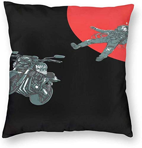 BONRI Space Motorcycle Rider Kissenbezug Einzigartige Kissenbezüge Kreative Kissenbezüge mit Reißverschluss Home Decorative Print Kissenbezug für Sofa Couch 40 (16'x16 / 40x40cm