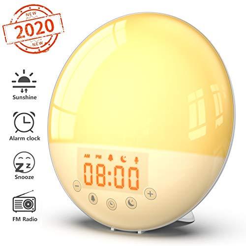 Wake Up Licht Lichtwecker - Smart Sonnenaufgang Sonnenuntergang Simulation Digitale LED-Uhr mit UKW-Radio, 8 Alarmtöne, Schlummerfunktion, 30 Helligkeit, 7 Farben Nachttischlampe