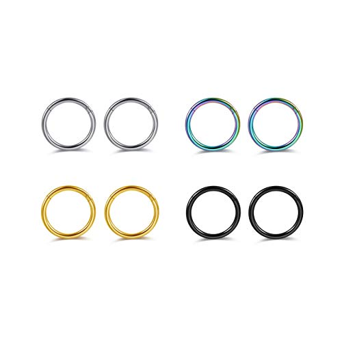 PiercingJ 6-8pcs 16G Stainless Steel Clip on Closure Round Ring Tragus Cartilage Nose Hoop Earring Hoop Septum Piercing 6-10mm