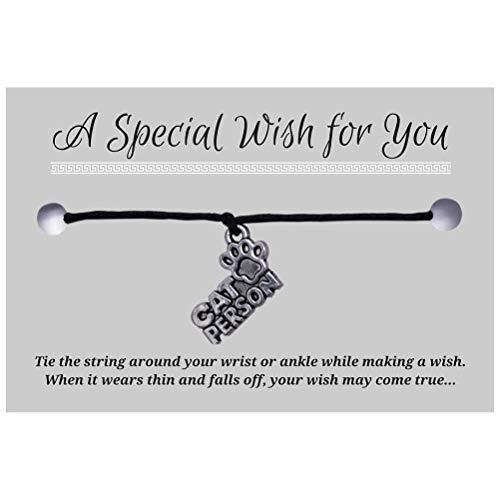 CAT PERSON Charm Wish Bracelet - Black Hemp with Silver Tone Charm on Printed Card - Adjustable - Unisex