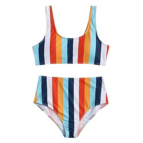 JFTMY Traje de baño a Rayas Sexy para Mujer 2021 Push Up Bikini de Cintura Alta Conjunto de Bikini Halter Traje de baño con Estampado Hueco Traje de baño de Dos Piezas