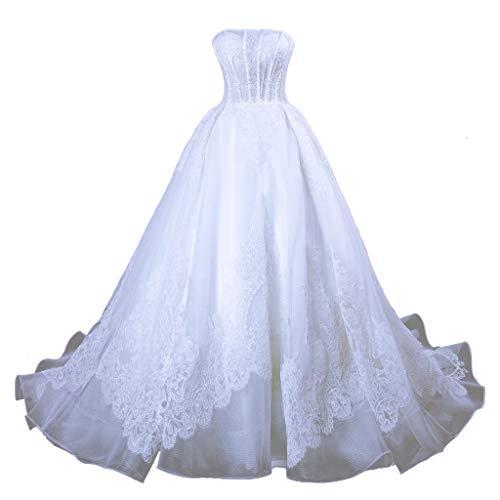 Vantexi Hochzeitskleider Brautkleid Prinzessin Ballkleider Spitze Organza Schulterfrei Ärmellos Weiß Größe 60