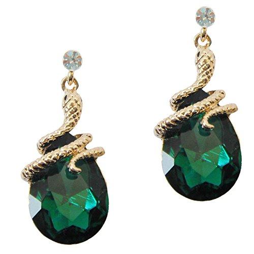 Navachi 18k Gold Plated Crystal Green Zircon Snake Drop Dangle Az1901e Stud Earrings