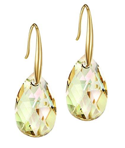 NEOGLORY Pendientes con Cristales SWAROVSKI AMARILLO Joya Original Regalo Mujer Chica