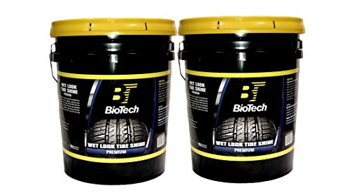 BioTech Wet Look Tire Shine, Silicone Based tire Shine, Non Splatter tire Shine, Long Lasting, Concentrated Formula, High Gloss, Easy to Apply 5 Gallons (Pail) (2)