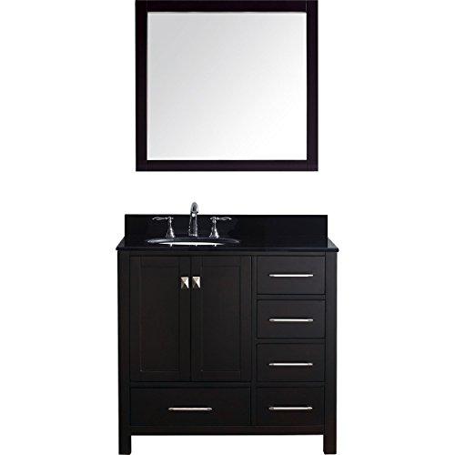 Virtu USA Caroline Avenue 36 inch Single Sink Bathroom Vanity Set in Espresso w/Round Undermount Sink, Black Galaxy Granite Countertop, Brushed Nickel Faucet, 1 Mirror - GS-50036-BGRO-ES-001