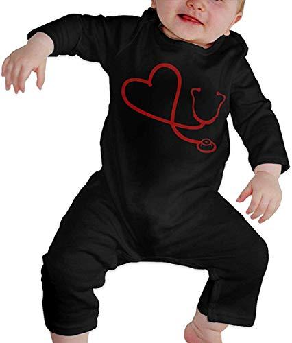 Estetoscopio de corazón Unisex Bebé recién Nacido 6-24 Meses Ropa de Escalada para bebé Ropa de Manga Larga para bebé Monos Negros Monos para bebé