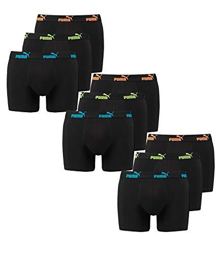 Puma 9 er Pack Boxer Boxershorts Herren Unterwäsche Sportliche Retro Pants, Bekleidungsgröße:L, Farbe:239 - Tripple Black