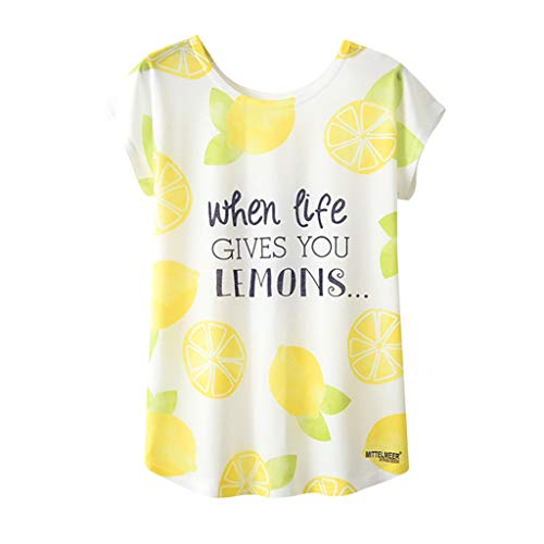 Oksea Kurzarm Blusen Shirt Rundhalsausschnitt Tops Damen Zitrone Brief Print Kurzarm Loses T-Shirt Bluse Damen Zitrone Brief Print Kurzarm Loses T-Shirt Bluse
