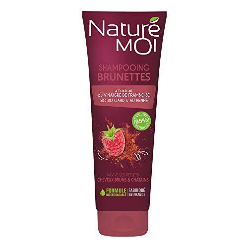 Naturé Moi - Shampooing brunette Au vinaigre de framboise bio du Gard & au henné Ravive les reflets des cheveux bruns et chatains naturels, méchés ou colorés - 250ml