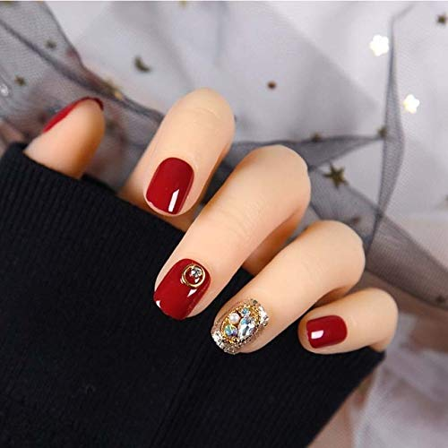 rpbll 24pcs/box Manicure Decoration Pre Design Fake Nail With Glue Bride Wearable Short Full Cover Shiny Crystal press on nails coffin As shown