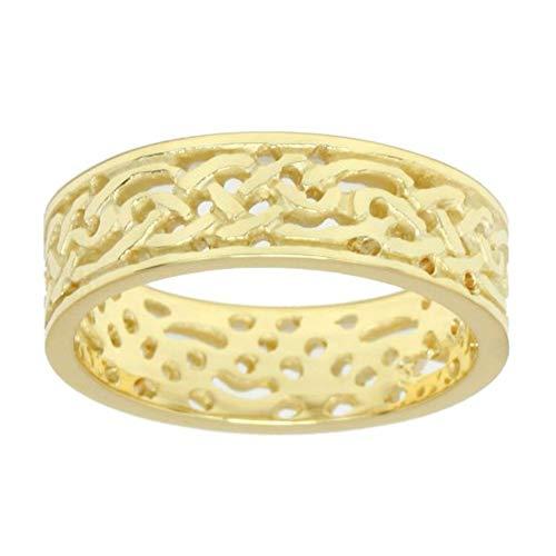 US Jewels Men's 10k Yellow Gold Irish Celtic Knot Wedding Ring Band (Size 8)